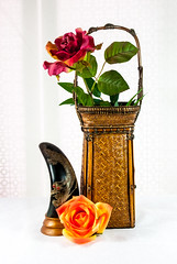 Asian Antique Art Objects (Colleen Coombe) Tags: stilllife asian chinese tabletopphotography basket arrangement nature morte stills