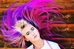Flip (tryniti almquist) Tags: girl hair pink purple ombre photography portrait magenta color model eyes beautiful gorgeous mermaid unicorn imagination lets play pretend black bow wood blond blonde woman lady pretty wave photoshop manipulation lovely love