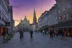 Walking around street under amazing sunset - Copenhagen (yuanxizhou) Tags: colors church sky street city tourists europe travel sunset building historical architectures urban denmark copenhagen