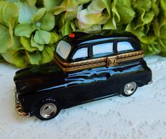 Limoges France Peint Main Porcelain Trinket Box ~ Black Taxi Cab (Donna's Collectables) Tags: limoges france peint main porcelain trinket box ~ black taxi cab