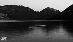 Waiting (awdftw!) Tags: water boat mountains black white bw sky sunset contrast dark moody cold light floating lake lakes canon photography landscape wide angle sigma jaren morris production