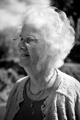Portrait Of One Of Grange's Longest Standing Residents (nigelhunter) Tags: portrait woman elderly old glasses cardigan wrinkles spectacles candid urban street