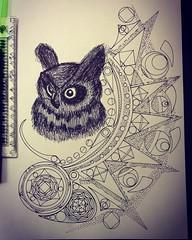 Owl: getting close (Dat Asian) Tags: geometric graphic zendoodle zentangled idea pointillism mandalas owl doodle drawing sketch