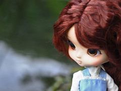To swim or not to swim (Malina (LaelP)) Tags: doll groove obitsu pullip daughter yeolume podo rose rosie blue dress brown eyes wig rewigged full custom mikiyochii faceup cute river outdoor toy toys forest puppe mueca poupe