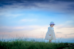 A fairytale (michaelinvan) Tags: blue hour sunset cloud sky grass dress white fairytale girl princess beauty portrait toddler richmond canon 5d2 135mm f2 dusk dof bokeh heavenly fancy fashion lostinthought