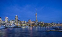 Waitemata Harbour (Sijie Shen) Tags: new zealand auckland waitemata harbour skyline cityscape landscape highrises houses ships water reflection color image night lights sony rx100m3 tower