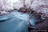 River in Infrared (burntpixel.ca) Tags: blue trees summer white ontario canada black art nature water beautiful horizontal rural forest canon river spectacular landscape photo log stream fine patrick photograph infrared xs rushingriver rushing mcneill canonxs wrench777