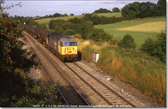 56035 'Taff Merthyr' heads west at Wapley with a rake of TEAs, August 12th 1987 (Bristol RE) Tags: bristol 56 railfreight class56 56035 wapley taffmerthyr
