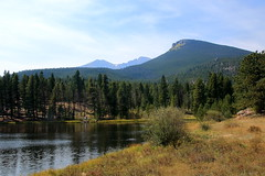 View across Lily Lake to Mount Meeker and Longs Peak (background) and Estes Cone (foreground) - Rocky Mountain National Park, Colorado (danjdavis) Tags: lake mountains nationalpark colorado rockymountains longspeak mountainlake rockymountainnationalpark lilylake estescone mountmeeker