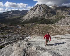 Ascending the Ridge (oruwu) Tags: california camping trekking nationalpark hiking sierra pole upper backpacking yosemite tuolumne blackdiamond tuolumnemeadows highcountry mammut younglakes