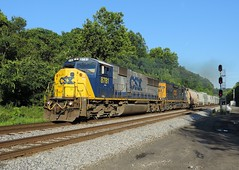 CSX 8781 and 4054 (Trains & Trails) Tags: railroad train diesel pennsylvania engine transportation locomotive broadford brightfuture csx fayettecounty emd sd60m yn2 8781 widecab q35320