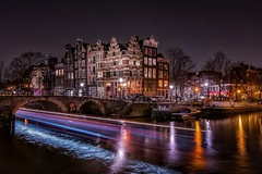 Classic Dutch (karinavera) Tags: travel nikond5300 lights urban amsterdam longexposure night netherlands traffic city