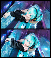 Hatsune Miku (bdrc) Tags: hatsune miku vocaloid night escalator flash color gel cosplay portrait girl buri cyan cyberjaya asdgraphy blend manipulation sony a6000 sigma 30mm f28 prime