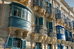 Valletta Balconies (3) (Michael N Hayes) Tags: malta valletta mediterranean europe balconies summer fujifilmxpro1 sea culture city