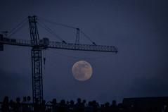 (sara snapshots) Tags: pier sunset moonrise people construction moon blue