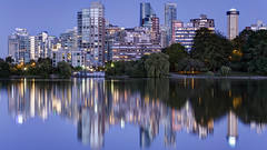 Downtown Vancouver Reflections (Patrick Lundgren) Tags: vancouver downtown british columbia canada pacific northwest outside nature city cityscape landscape photography sunset blue hour long exposure reflection stanley park building night tree lights water sigma canon beach light