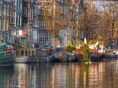 Amsterdam Memories (Belinda Fewings (3 million views. Thank You)) Tags: belindafewings panasoniclumixdmc bokeh city street seaside colour colourful artistic pbwa creativeartphotograhy creative arty beautiful beautify beauty lovely outdoors outside out best depthoffield reflections reflects reflecting barge boats building amsterdam holland autumn water canal travel netherlands