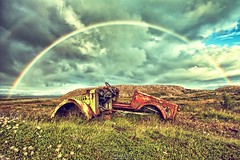 Somewhere Under the Rainbow (Szydlak Szk) Tags: derelict decay decayed decaying defunct deteriorated dead old auto automobile fahrzeug vehicle car rusty rust rainbow clouds landscape urbex rurex urban rural exploration szydlak szk iceland weather nostalgia nostalgic tcza over somewhere nature forgotten forlorn fotografia forsaken