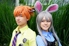 Nick and Judy (Eric Flexyourhead) Tags: vancouver canada britishcolumbia bc downtown vancouverconventioncentre canadaplace 2016 animerevolution costume cosplay cosplayer girl woman cute disney zootopia rabbit bunny smile smiling judyhopps officer zootopiapolicedepartment nick nickwilde fox shallowdepthoffield sonyalphaa7 zeisssonnartfe55mmf18za zeiss 55mmf18