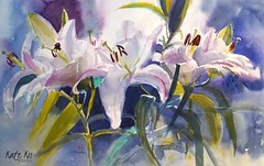 Lillies (katekos) Tags: lillies pinklillies watercolor watercolour watercolours painting akwarela art katekos floralwatercolor floral flowers