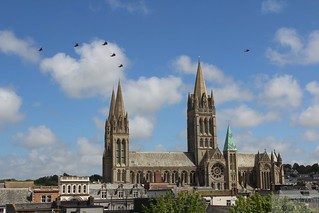 771 Squadron from RNAS Culdrose fly over Truro Cathedral