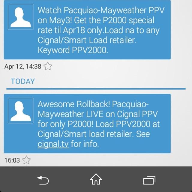 Engot din itong Cignal. Dati pa kayang P2000 yang Manny Pacquiao vs Floyd Mayweather pay per view. May rollback rollback pa kayong nalalaman. #FAIL