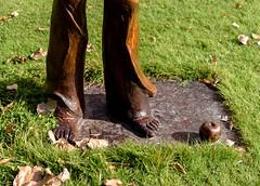 Must have Cold Feet (Jocey K) Tags: autumn newzealand sculpture art apple leaves bronze lawn southisland bannockburn wineregion tripanzacblipmeetcentralotago carrickwiney