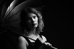 Lady with Umbrella (GreyStump) Tags: model blackandwhite bw pb sp monochrome blancoynegro blackwhite noiretblanc portrait greystump copyrightcolinpilliner lady woman people umbrella bestportraitsaoi