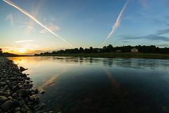 Elbflorenz (FotoCaching) Tags: sun sunset sonnenuntergang elbe wasser water sky himmel fernsehturm kirche villa steine stone mirrow spiegel fisheye walimex pro 8mm sony alpha 6000 a6000 cemtrail