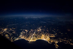 Nice from above, by night (gc232) Tags: from city france night plane canon airplane lights fly flying high nice view live flight aerial iso deck f28 6d 14mm samyang