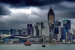 Hong Kong Victoria Harbor (federicozimerman) Tags: voyage china new old travel sea sky urban storm water skyline clouds contrast buildings hongkong harbor boat ship skyscrapers chinese wanderlust metropolitan urbanphotography victoriaharbor concretejungle