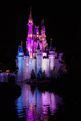 Watercolor Dreams (unflux) Tags: castle disney world wdw orlando florida night late after hours park lights dreams watercolor water color reflection pink