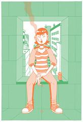 Good View 2 (motherkazura) Tags: city girl illustration cityscape digitalart chillin smoking ill cha digi characterdesign