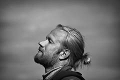 A moment of peace (kimblomqvist) Tags: people person male man portrait portraits profile profiles tranquil tranquility peace peaceful blackandwhite bnw beard hair sky sun sunlight naturallight barba hombre pelo negroyblanco homme barbe cheveaux canon canon60d canonphotography 100mm