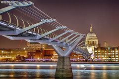 The Millennium Bridge and St Paul's (Nigel Blake, 13 MILLION...Yay! Many thanks!) Tags: the millennium bridge st pauls nigelblakephotography nigelblake london night scene lights thames photography england uk capital city cathedral