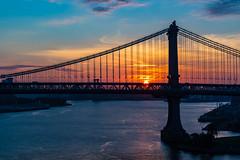 Sunrise Over Manhattan Bridge (Amar Raavi) Tags: manhattanbridge manhattan nyc newyorkcity ny newyork usa unitedstates america bridge eastriver sunrise brooklyn suspensionbridge silhouette river morning cityscape urban architecture brooklynbridgepromenade brooklynbridgewalkway