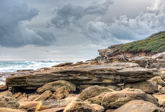 Fishing is a passion (JustAddVignette) Tags: australia cliff clouds cloudysunrise early focusstack landscapes maroubra newsouthwales ocean rocks sea seascape seawater sky southeasternsuburbs sydney water
