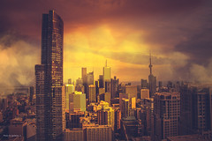 Toronto Downtown (naddesigns) Tags: ciyscape fog canon toronto canada summer highrise 70d polarizing filter color warming haze clouds nadeem ontario sunset right wide angle photoshop adobe naddesigns downtown south lake concrete jungle condo apartments house dewellers dwellers north america image processing golden