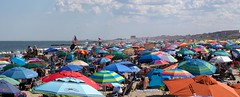 Beach Umbrella Panorama (markchevy) Tags: panorama clouds jerseyshore atlantic ocean beach sandy boardwalk umbrellas colorful oceangrove nj newjersey landscape photo pictorial pix scene graphic picture vista omdem10 interesting markchevy johnspilatro