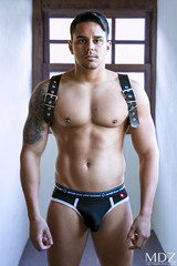 __MG_2031 (MDZ male photography) Tags: male leather model underwear hunk andrew christian harness workout fitness undies leathermen andrewchristian aesthwtics