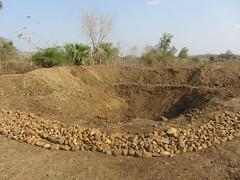 Farm pond with stone bund on inlet