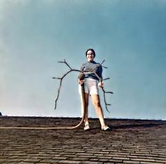 Catherine holding a kelp reindeer! La Jolla, CA 1966 (ali eminov) Tags: california women lajolla roofs catherine kelp