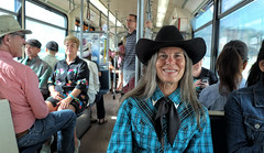 Calgary Stampede Ready... (Sherlock77 (James)) Tags: calgary ctrain streetportrait people woman calgarystampede