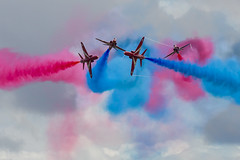 Red Arrows cross over (John Ambler) Tags: red arrows cross over royal naval air station yeovilton international day 2016 john ambler johnambler aviation photographer photographs photos blue sky smoke