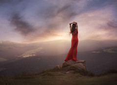 Above the horizon (25yo | French) Tags: d810 nikon landscape sunset purple sky clouds red dress girl rock mountain hike 85mm 18 kirawashere wow
