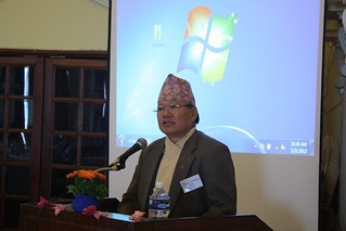 Dr. Kedar Baral presents his research by