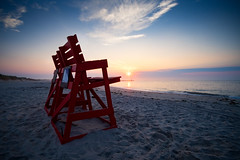 What a view! (DJawZ) Tags: beach ocean longbeachisland lbi harvey cedars barnegat lifeguard chair atlantic sunrise sun clouds sand red sunsetwx fuji fujifilm