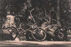IMG_3752 pocket bike (pietzucker) Tags: available availablelight night art artless fahrrad bicycle bike cycle klapprad berlin germany street streetart streetstyle summer sommer sw bw schwarz weis blackandwite city dark emotion light kreuzberg look outdoor retro