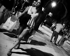 (^Michael Bischof^) Tags: street black white bw night midnight bokeh beautiful girl canon eos 5ds 5d going out people photography voigtlander ultron 40mm