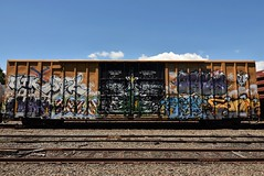 ? (TheGraffitiHunters) Tags: graffiti graff spray paint street art colorful freight train tracks benching benched floater full car covered christmas tree snow boxcar
